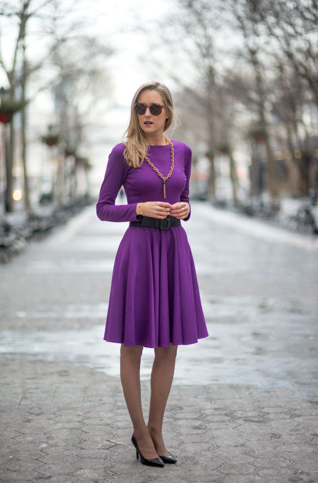 Modest Perfect flare midi dress with long sleeves and high neck ...