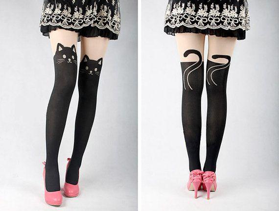Cat Tail Gipsy Mock Knee High Tattoo Black Leggings Tights