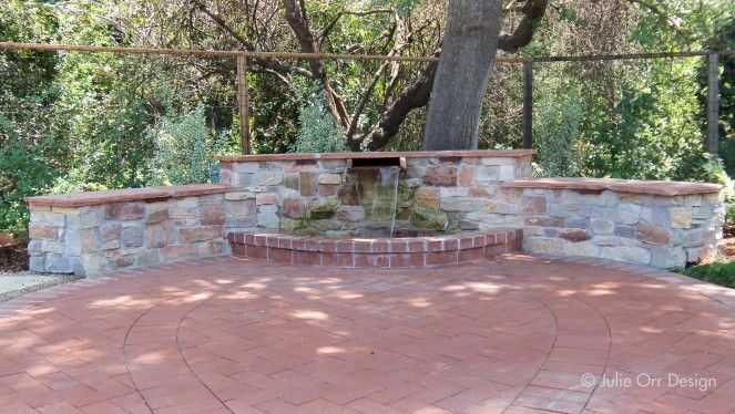 Custom Water Feature And Seatwall Inlaid Brick Design Design