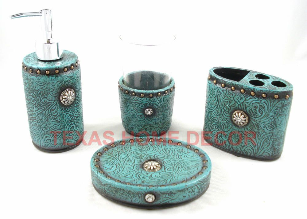 Western Turquoise Bathroom Accessory Set Piece Tooled Leather