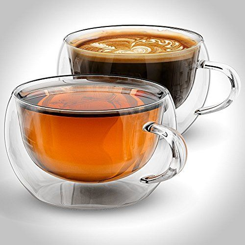 Ultra Clear Glass Tea//Coffee Cup with Glass Saucer Milk Mug Drinkware Set of 2 Amao 6oz 200ml