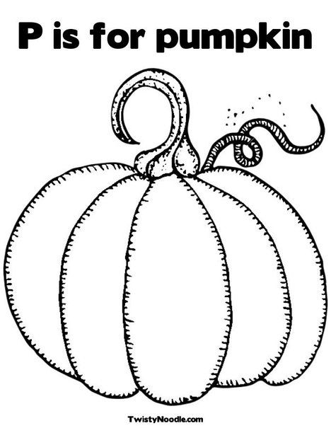 P Is For Pumpkin Coloring Page From Twistynoodle Com Pumpkin