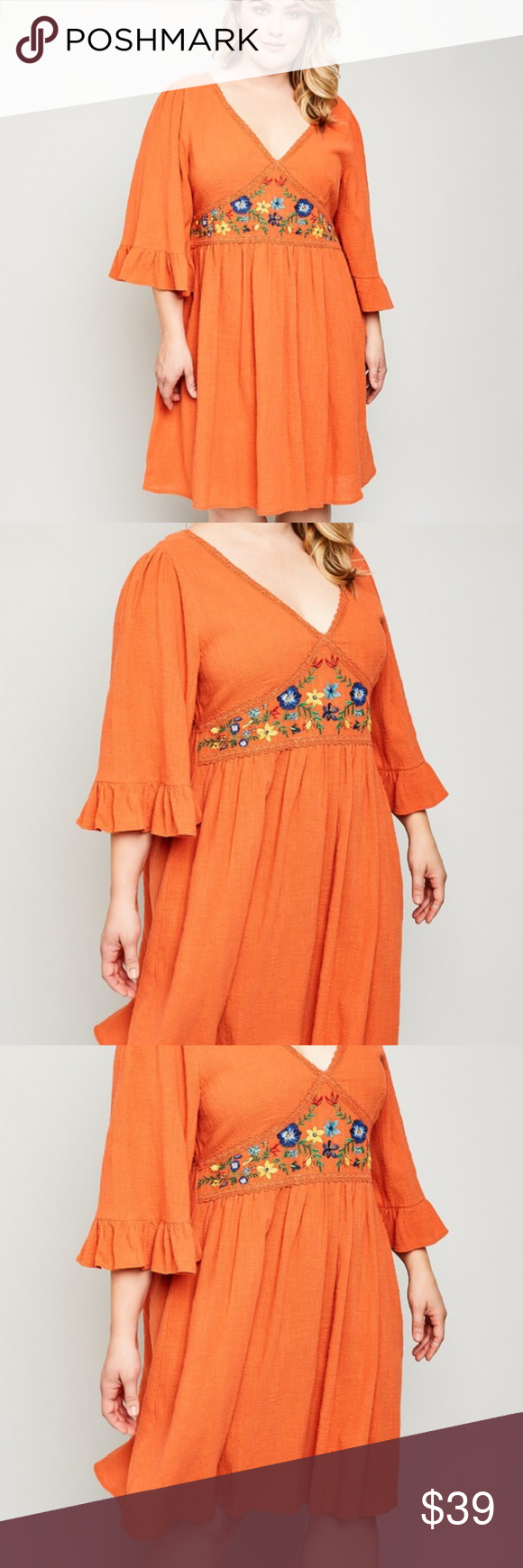 Burnt orange dress plus size  Embroidered Floral Tunic Dress Boutique  My Posh Picks  Pinterest
