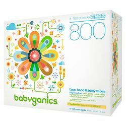 Babyganics Face Hand Baby Wipes Fragrance Free 800ct