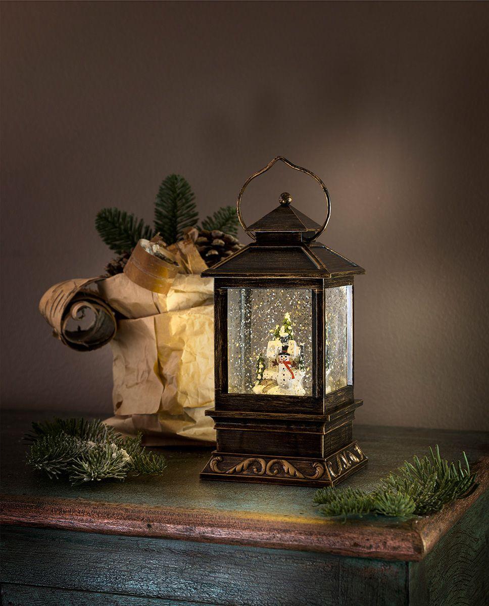 Konstsmide Weihnachtsbeleuchtung.Konstsmide Batteridrevet Vannfylt Led Lykt Med Snømann