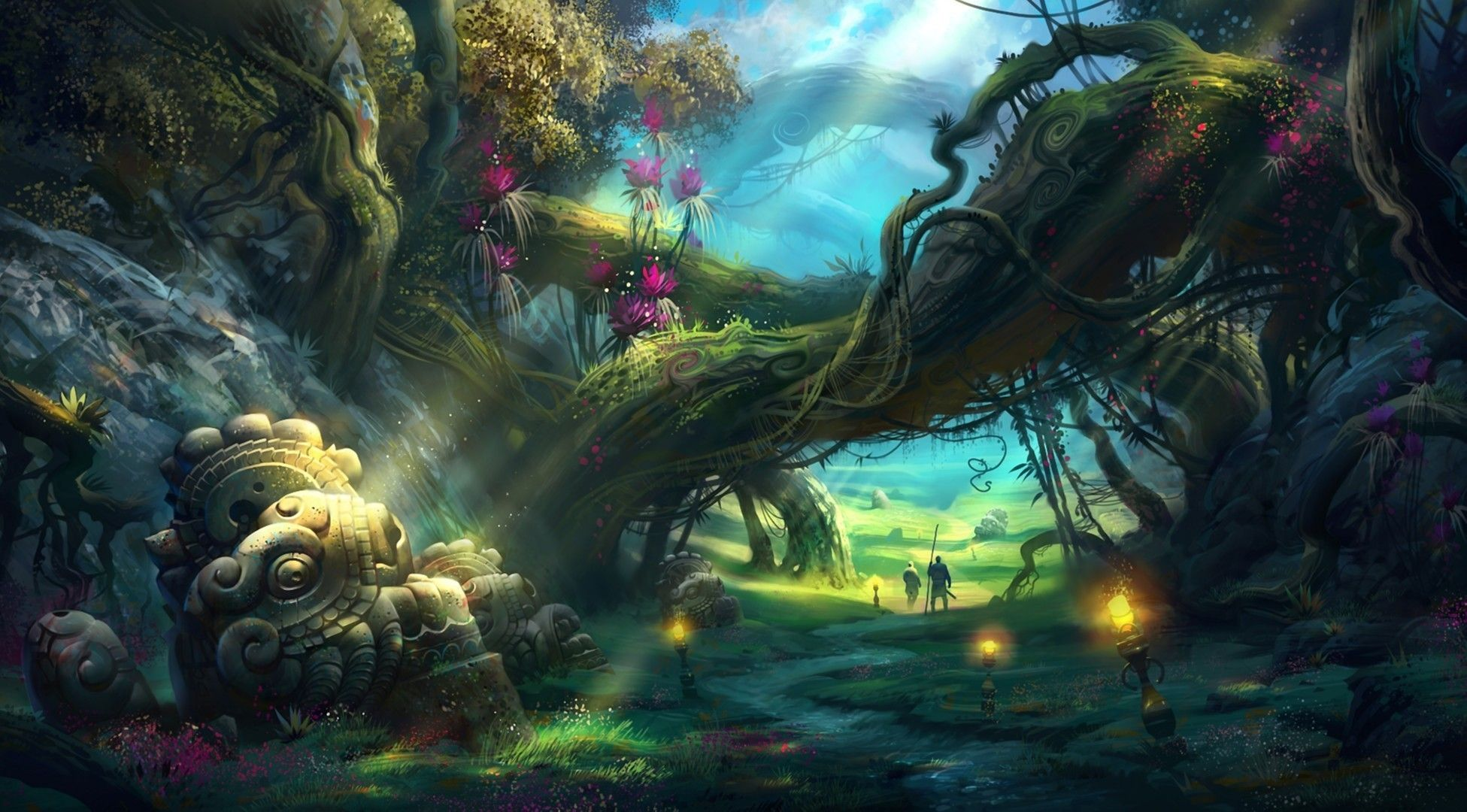 Anime Fantasy Landscape Wallpapers Android With High Definition Resolution 1951x1080 Px 40748 KB