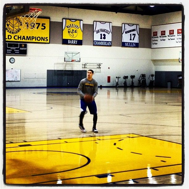 From earlier today...Klay Thompson putting up shots in an empty gym long after practice ended. #Shooter