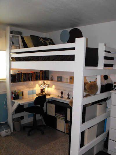 Ideas para cama elevada con área de trabajo Buenas ideas