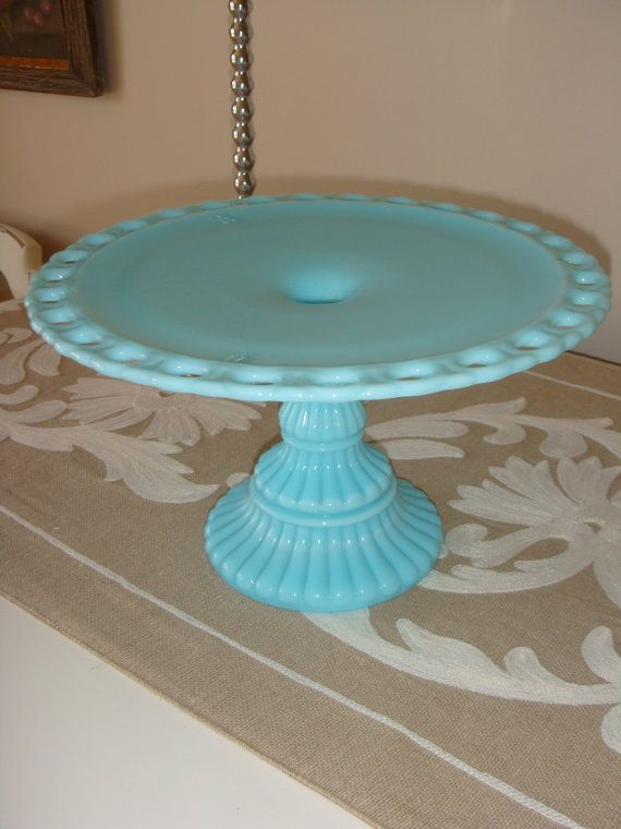 Vintage Imperial Robin S Egg Blue Milk Glass Cake Stand Cake