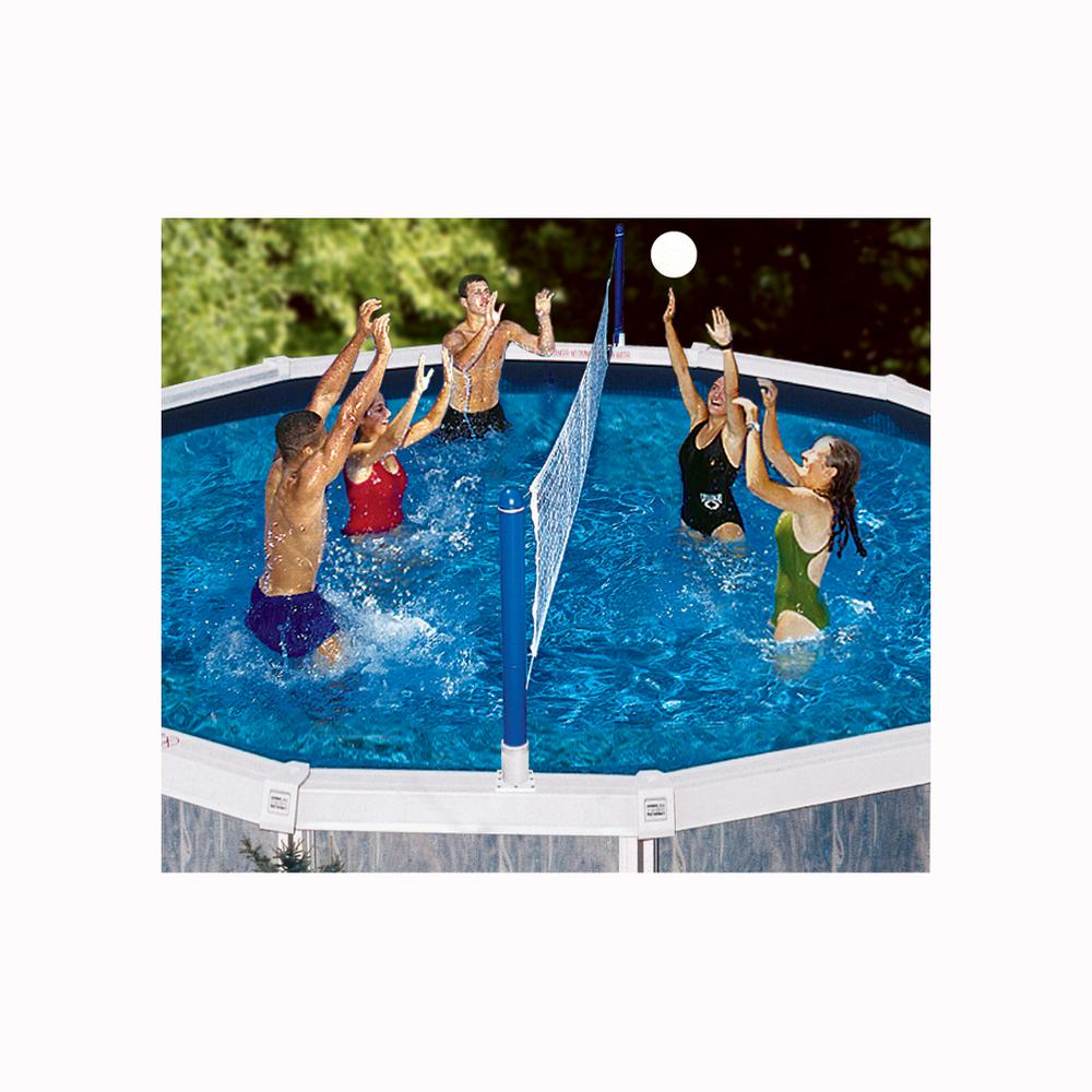18x36 Lagoona Inground Pool With Custom Volleyball Net And 11ft Roman Step Pool Volleyball Net Swimming Pools Inground Outdoor