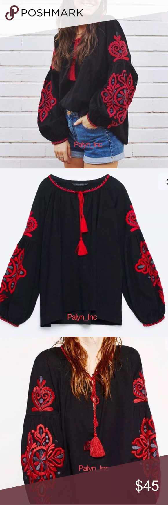 ❤️SOLD❤️Zara Embroidered Tunic Blouse Boutique