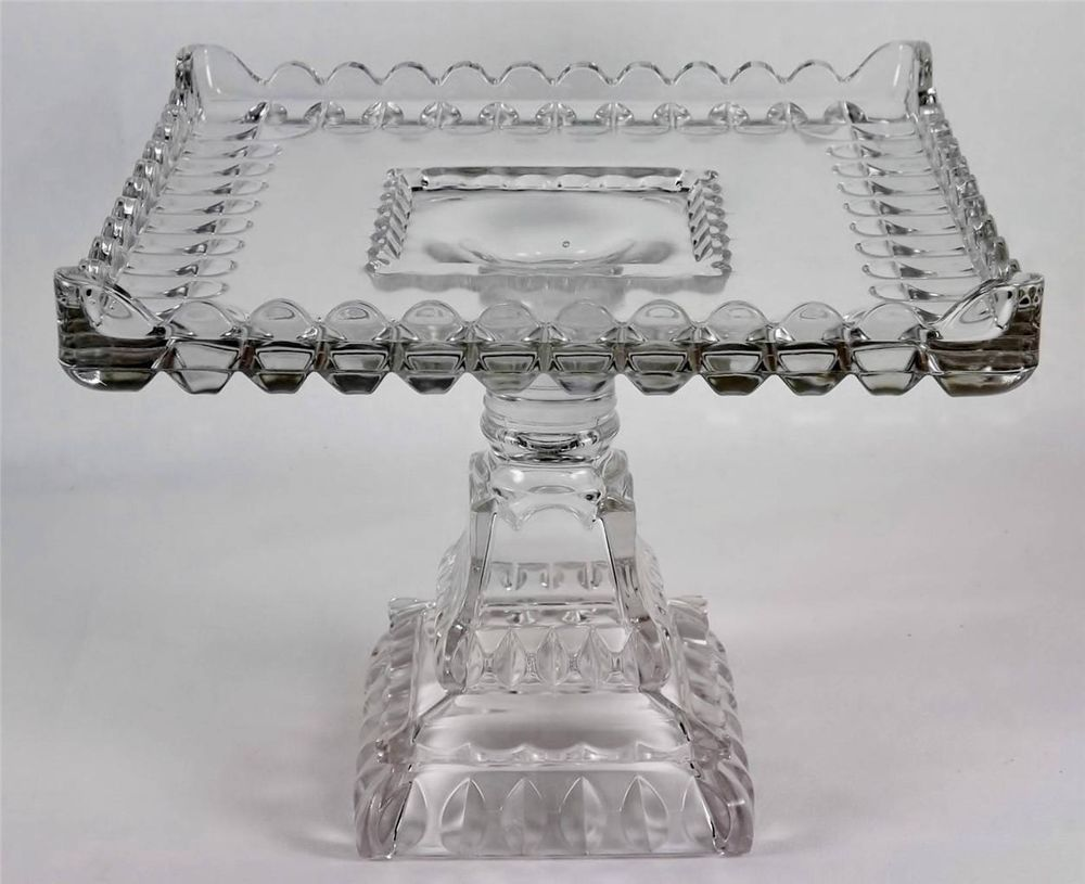 Antique eapg cake stand adams cosquare glass pedestal w