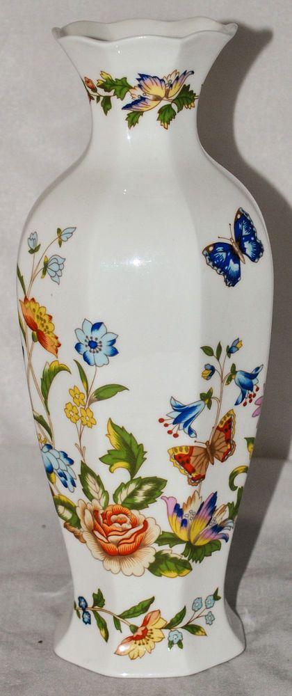 Aynsley Cottage Garden Fine Bone China 9 Inch Tall Vase In Mint