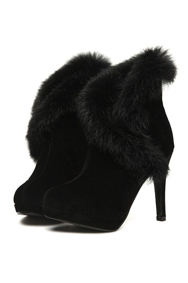 All-matching Rabbit Fur Heels