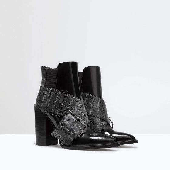 ZARA - SHOES & BAGS - BUCKLED MOCK-CROC BOOTIE