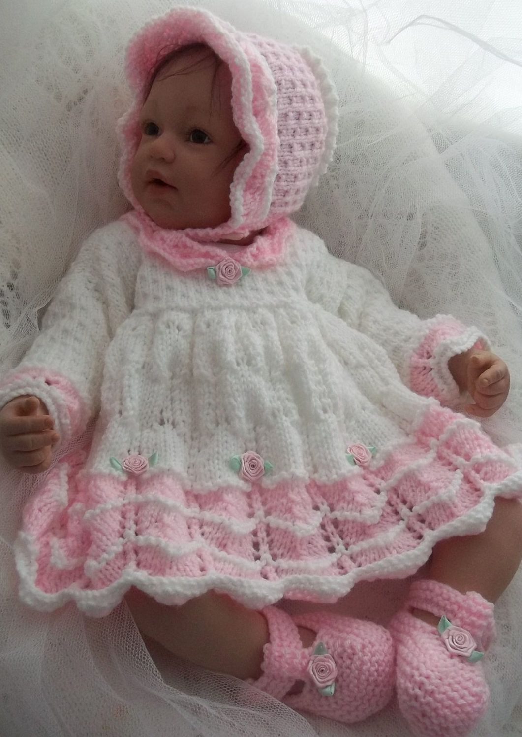 Dresses and skirts for children knitting patterns lace knitting free knitting pattern for scalloped baby dress bonnet booties this lace dress set bankloansurffo Gallery