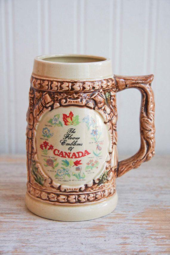 Flower Emblems Of Canada Vintage Beer Stein, Canadian Beer Mug,  Oktoberfest, 1960s Vintage