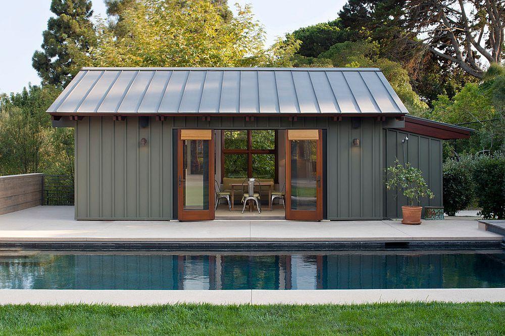 Smart modern pool house in steely gray Decoist Modern