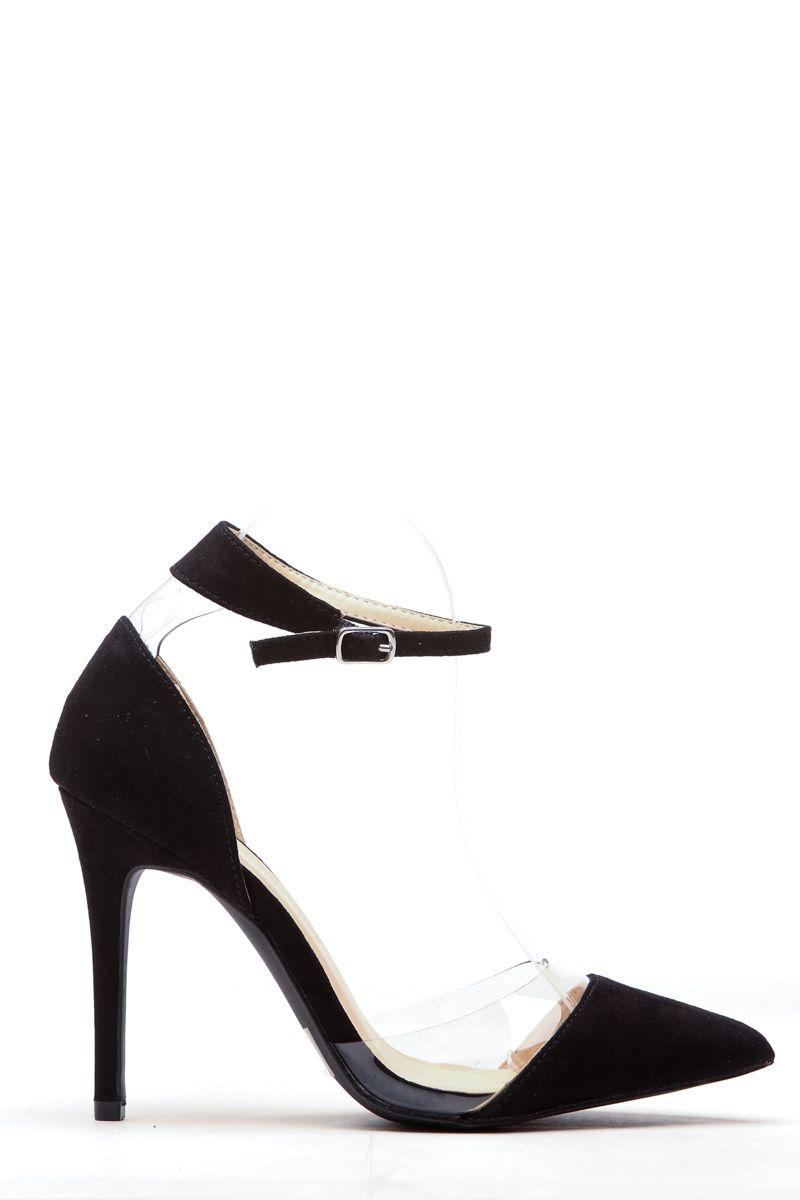 008c0d4b48fc Black Faux Suede Pointed Toe Ankle Strap Vinyl Heels   Cicihot Heel Shoes  online…