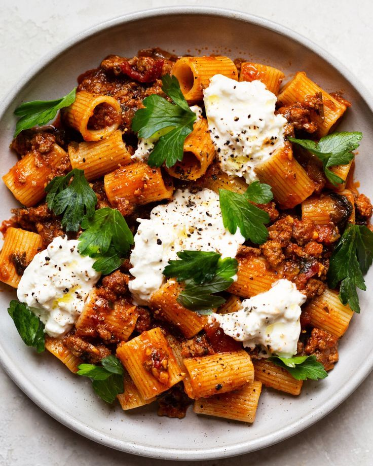 Photo of Grandma's Meat Sauce Pasta with Burrata — The Daley Plate