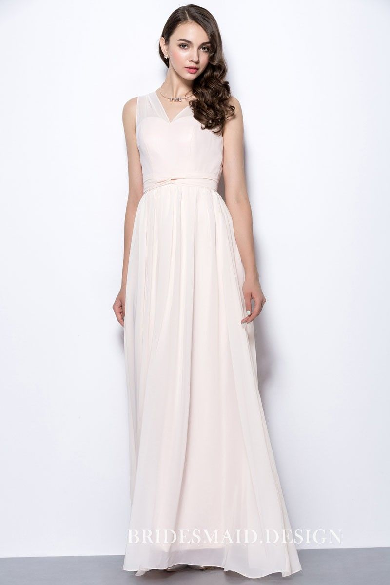 Elegant blush chiffon sleeveless vneck aline long bridesmaid dress