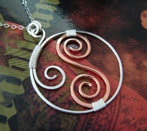 Photo of Items similar to With Copper – Wire wrapped sterling silver necklace on Etsy