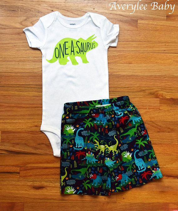 Dinosaur First Birthday Outfit Or Shorts A Lime Green With The Words One