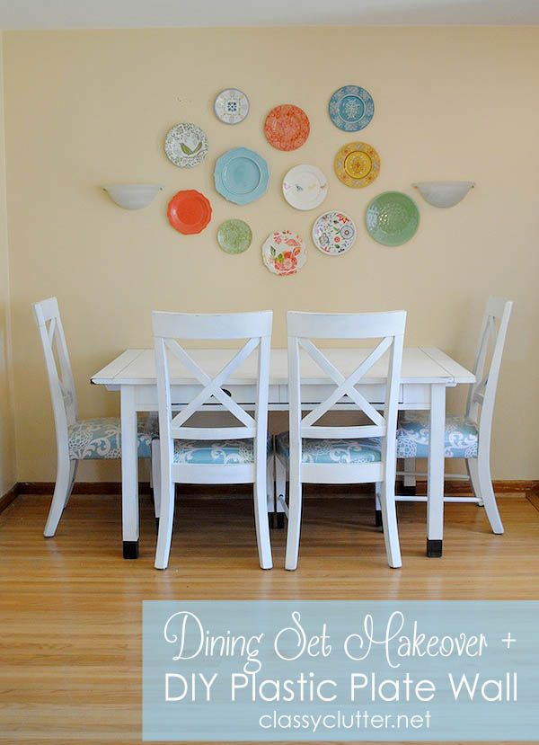 Dining Set Makeover + Plastic Plate Wall with no nail holes! - www.classyclutter.net