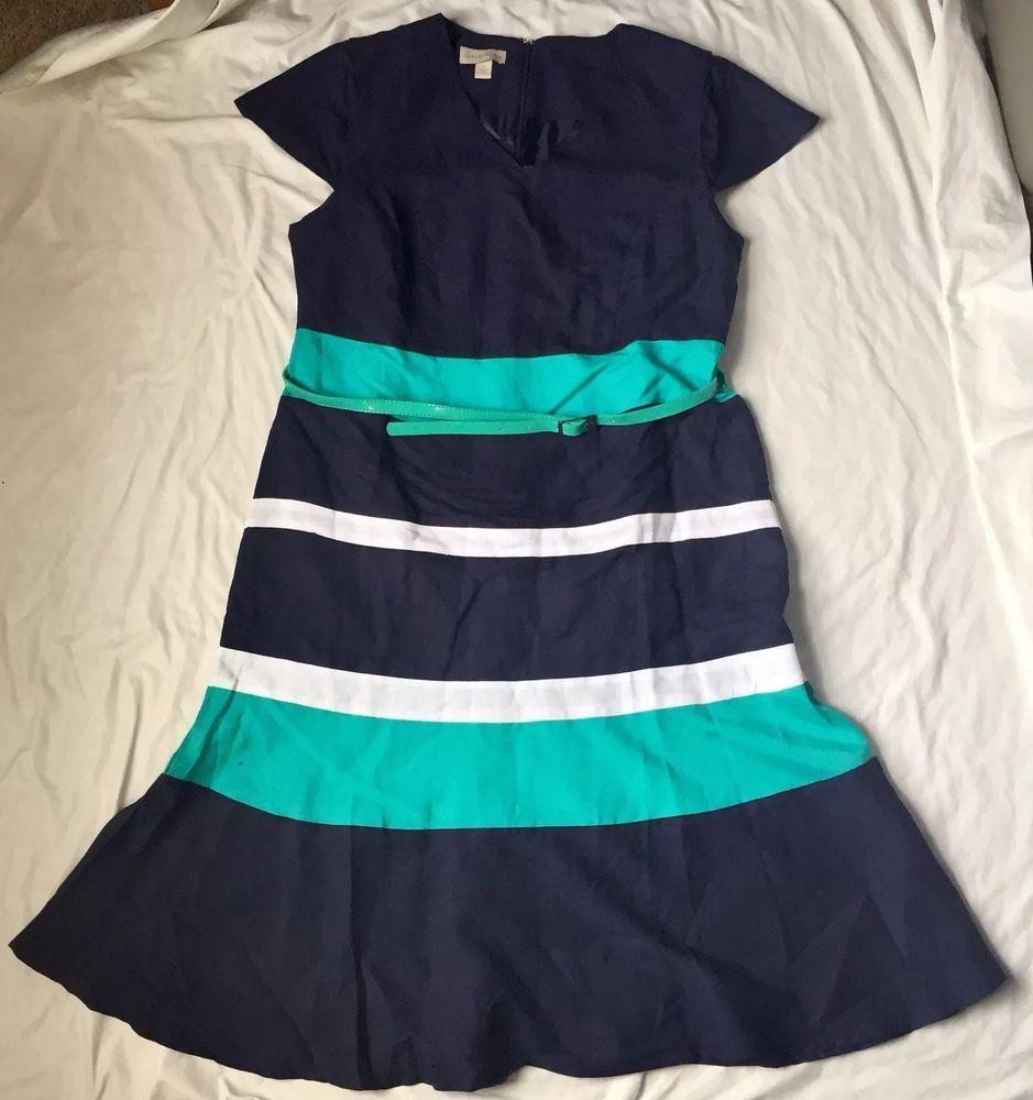 J brand green velvet dress  Appleseeds Womens Linen Blend Dress Navy Striped Belted Cap Sleeve
