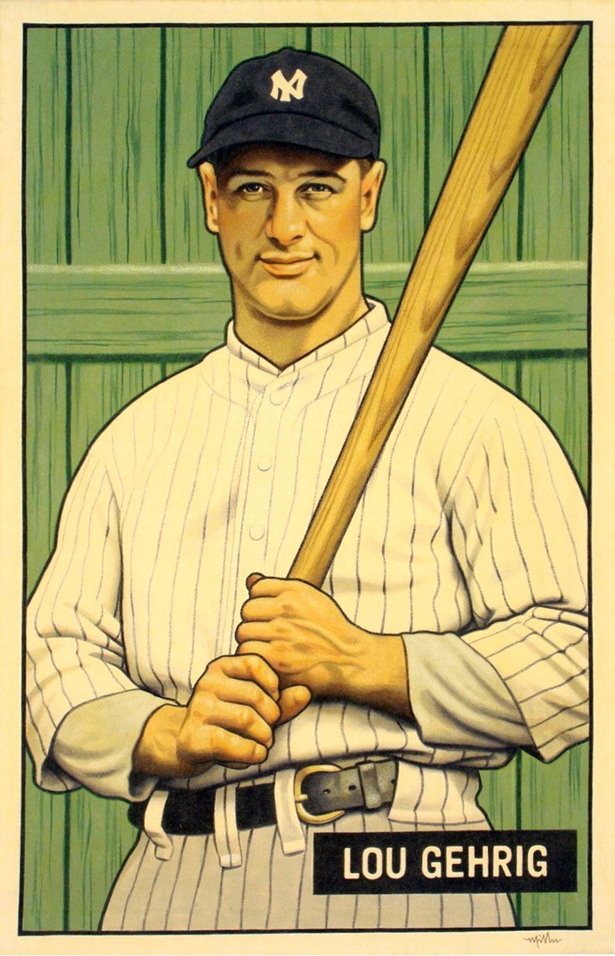 Lou Gehrig, NY Yankees 1951 Bowman \
