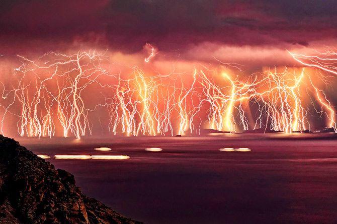Severe thunderstorm on Ikaria island