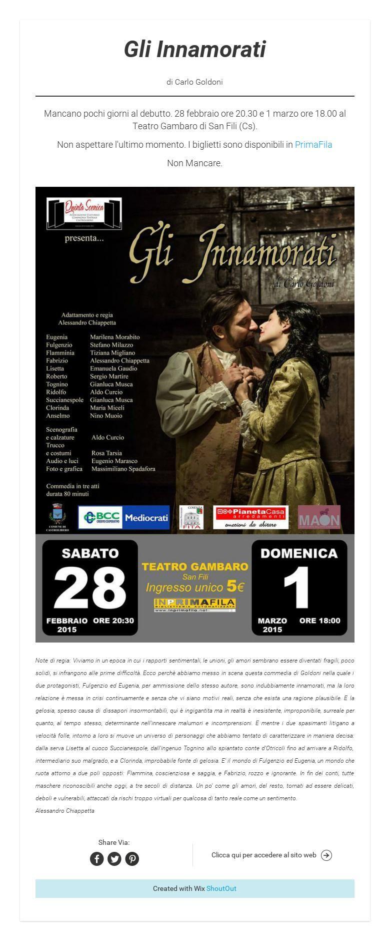 Gli Innamoratidi Carlo Goldoni - Compagnia Teatrale Quinta Scenica