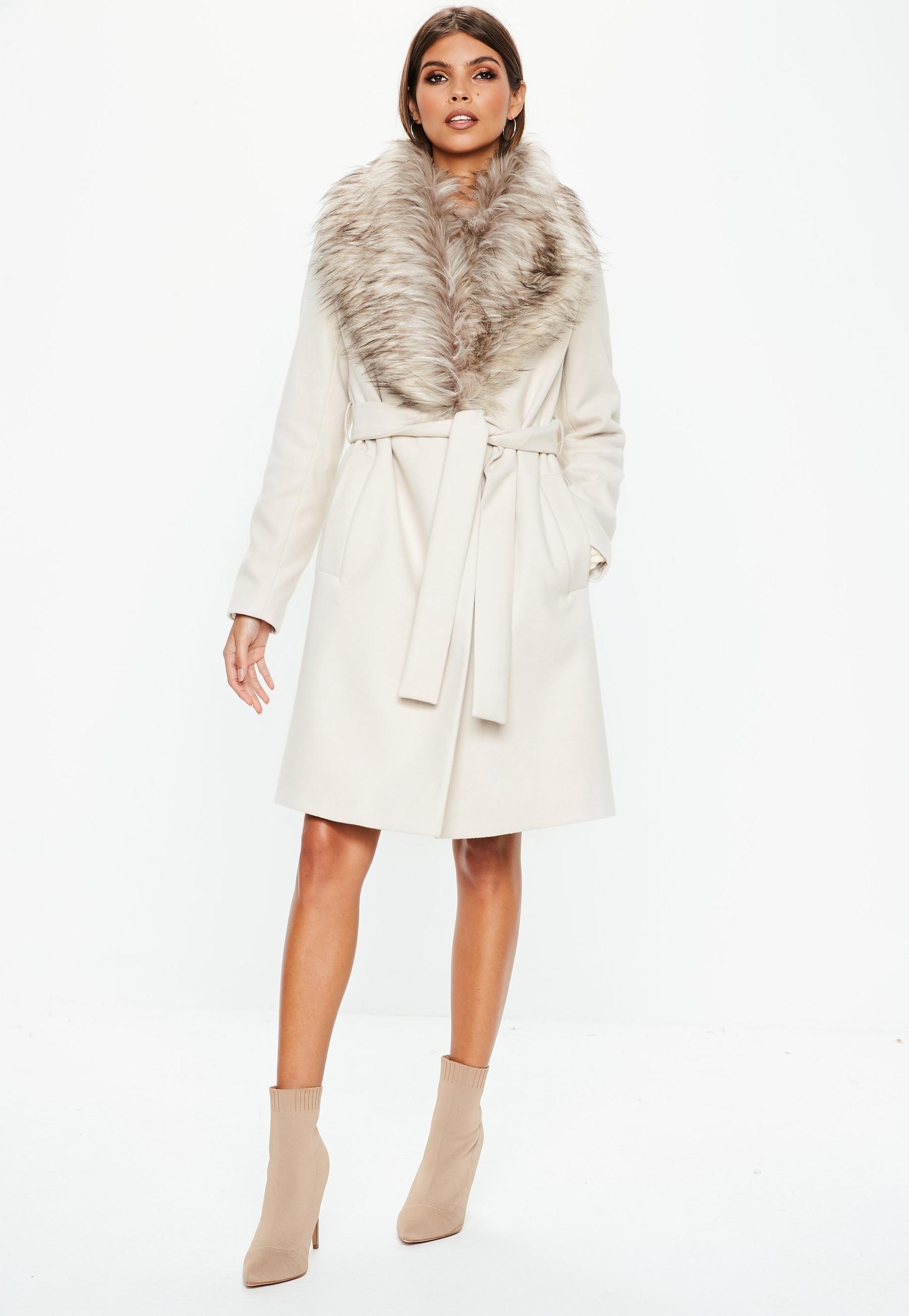 Cream Faux Fur Collar Coat Missguided Coats jackets