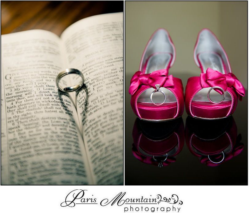 Paris Mountain Photography wedding rings. Rings with bible