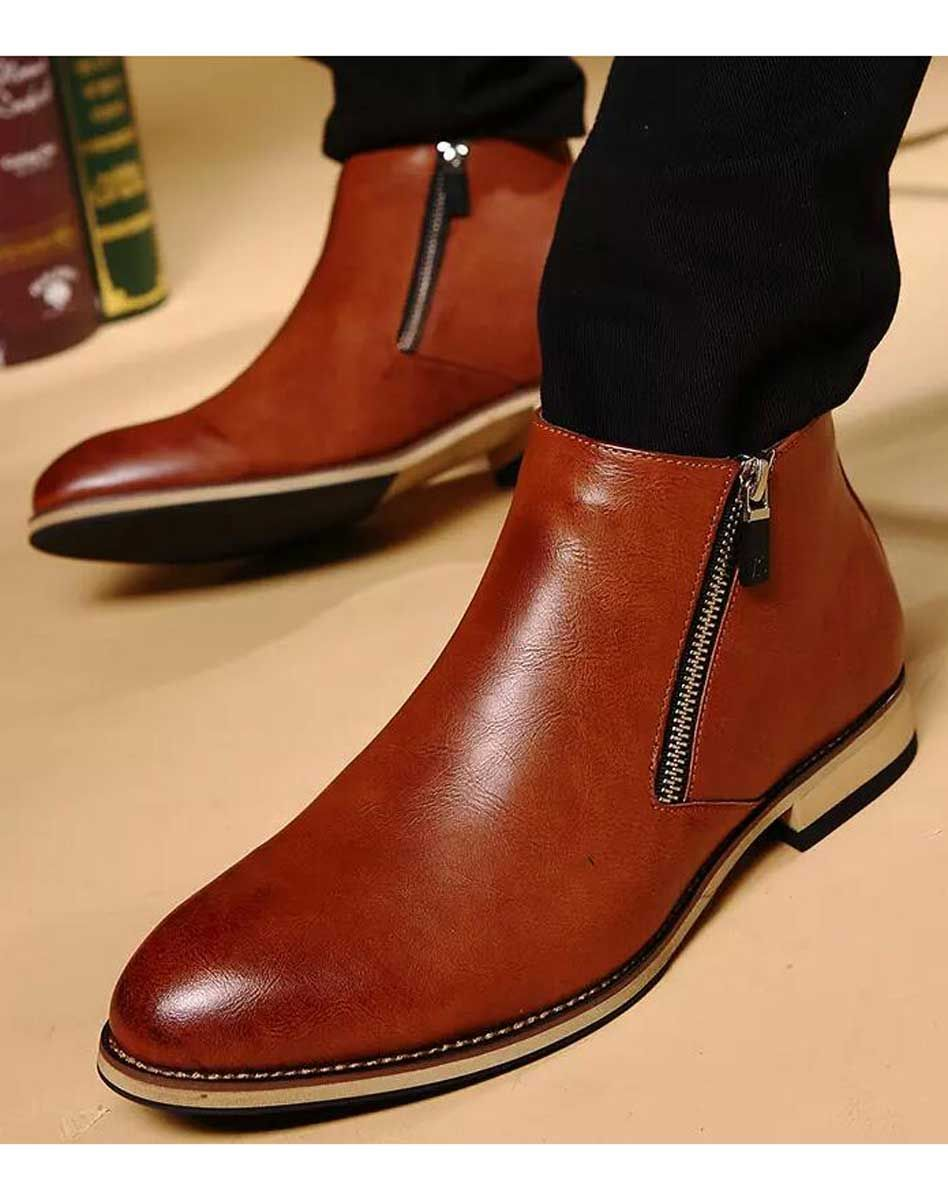 brown leather slip on dress shoe #boots