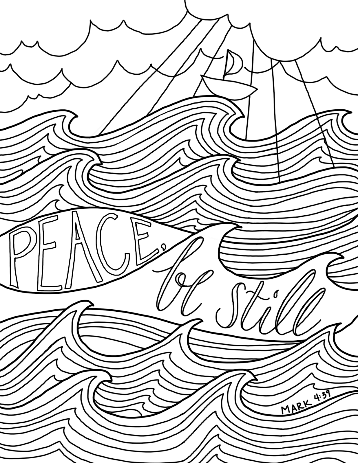 Peace, Be Still -- a new coloring page! | Bible coloring pages, Bible  coloring, Coloring pages