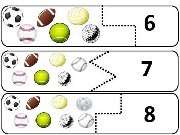 sports puzzles 0 10 matching balls numbers and number words math for kindergarten olympique. Black Bedroom Furniture Sets. Home Design Ideas