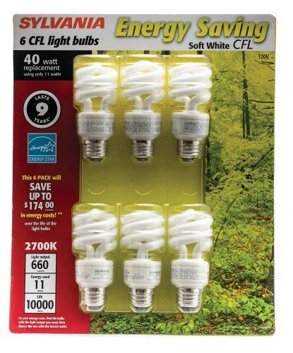 Sylvania Energy Saving 11 Watt Cfl Twist Light Bulbs Soft White 6 Pack By Sylvania 11 44 Sylvania 11 Watt Comp White Light Bulbs Mini Twists Save Energy