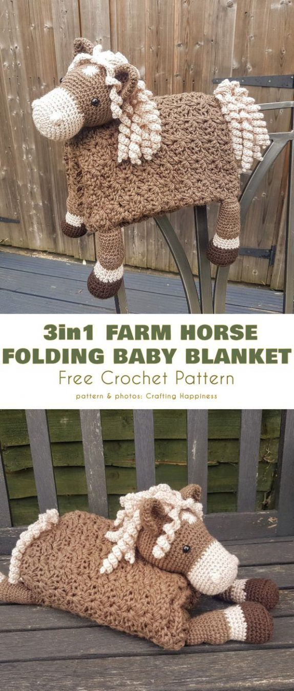 3 in 1 Farm Horse Folding Baby Blanket Free Crochet Pattern #babyblanket