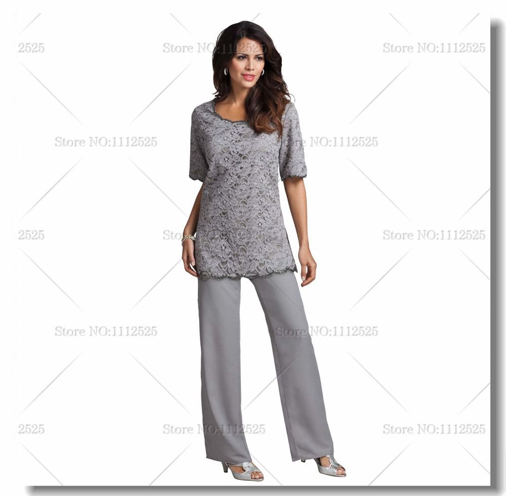 Cheap gray lace and chiffon two piece mother of the bride for Dress pant suits for weddings plus size