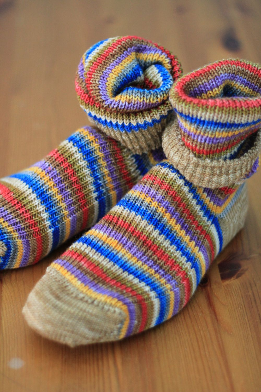 Knitted Wool Socks Super Wash Wool Blue Yellow Purple Red Knit Wool Socks Wool Socks Hand Dyed Yarn