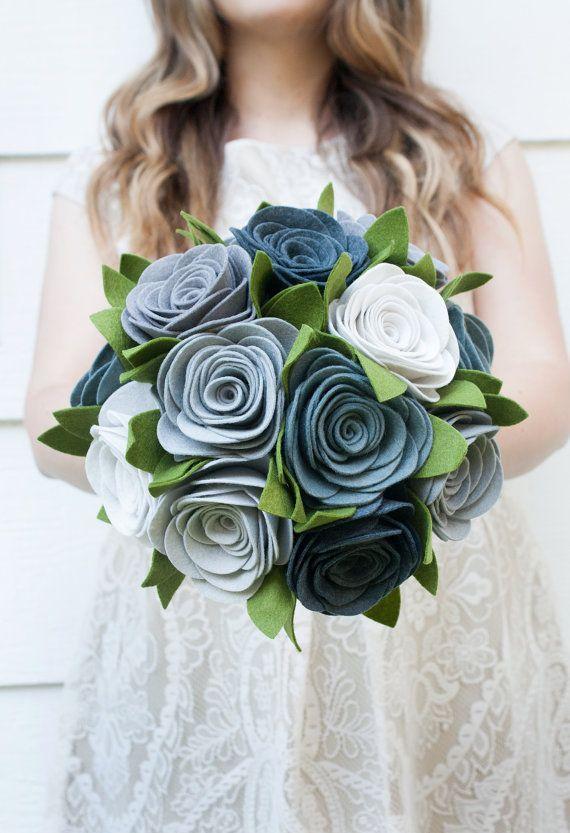 Alternative To Rose Garden: Grey Felt Rose Bouquet Alternative Wedding By