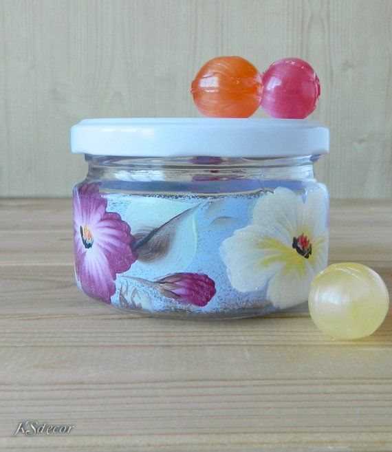 Painted Glass Jar With Lid Decorative Canister Hand Painted