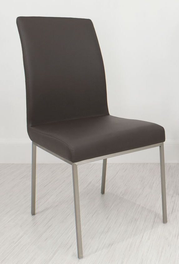 Elegant Louisa Dining Chair In Brown Faux Leather From Danetti.