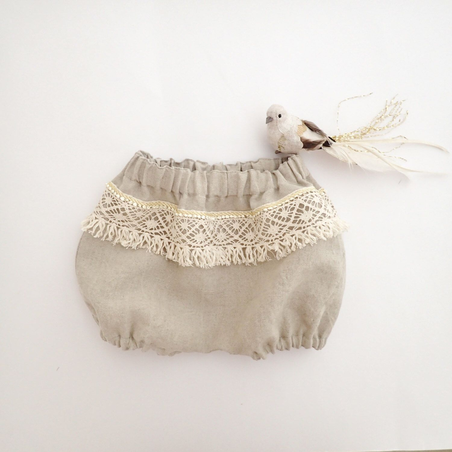 Natural Linen Boho Bloomers Baby Prop Boho Chic Baby Clothes