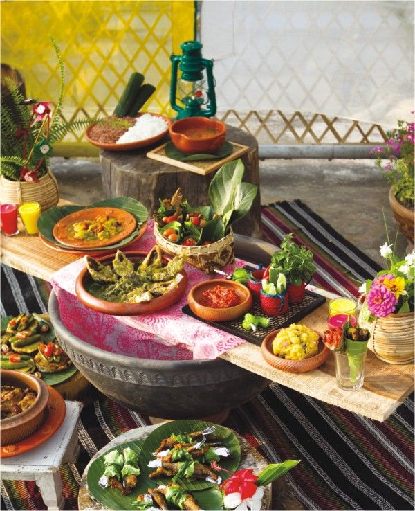 Traditional Bengali new year celebration with foods