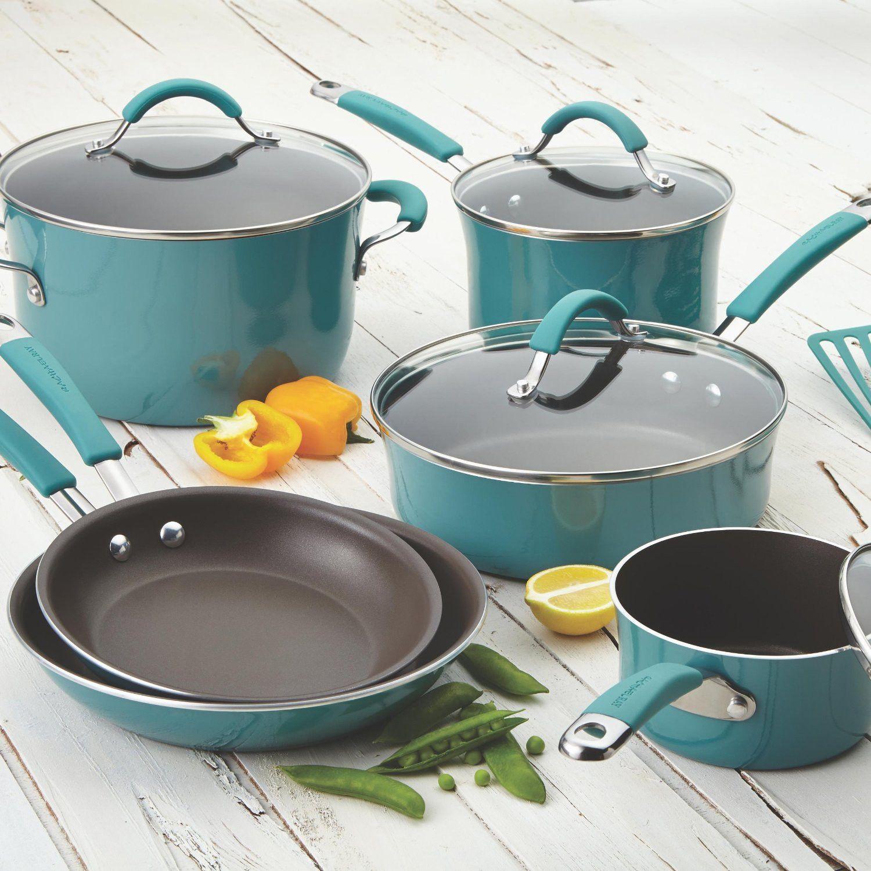 Rachael Ray Agave Blue Cucina Porcelain Nonstick 12-Piece Cookware ...