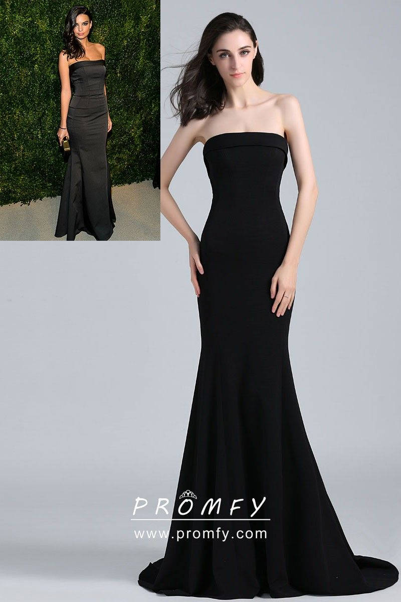 a817b9fba5f Emily Ratajkowski celebrity inspired black strapless floor length trumpet  simple prom gown. Strapless straight neckline. Body-hugging silhouette.