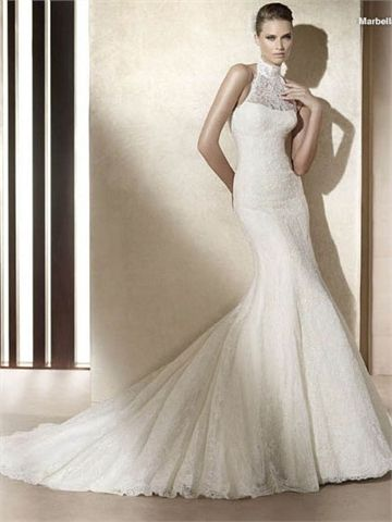 Beautiful Fashionable High Neck Halter Dropped Waist Mermaid Lace Tulle Wedding Dress WD tidedresses