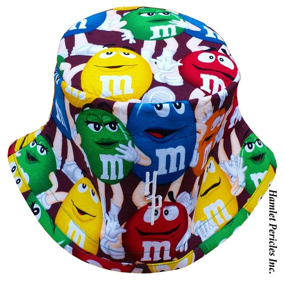 M&Ms Candy Bucket Hat Multicolored Unisex by Hamlet Pericles, Inc.   #HamletPericles #MandMs #MandM #Candy #Chocolate #Smiley #Smilies #Headwear #Etsy #Colorful #OOAK #Headpiece #Milliner #Milliner #Fashion #Playful